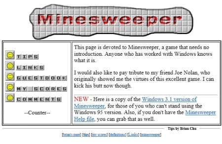 Minesweeper Tips, Homepage